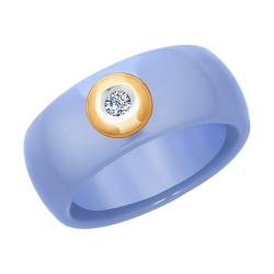 Кольцо из золота с бриллиантом и голубым керамической вставкой