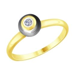 Кольцо из желтого золота с бриллиантом и керамической вставкой