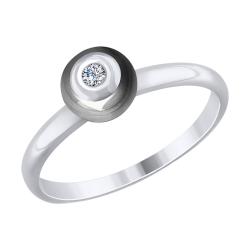 Кольцо из белого золота с бриллиантом и керамической вставкой