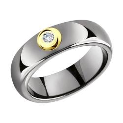 Кольцо из желтого золота с бриллиантами и керамическими вставками