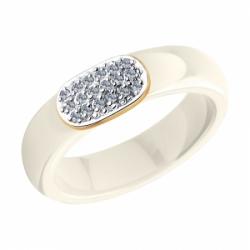 Кольцо из золота с бриллиантами и жёлтыми керамическими вставками