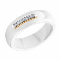 Кольцо из золота с бриллиантами и белыми керамическими вставками