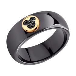 Кольцо из золота с черными облагороженными бриллиантами и керамической вставкой