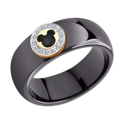 Кольцо из золота с эмалью и родированием и бриллиантами и керамическими вставками