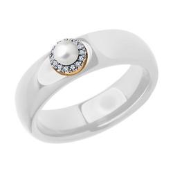 Кольцо из золота с родированием с миксом камней