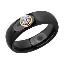 Кольцо из золота с родированием с бриллиантами и керамической вставкой