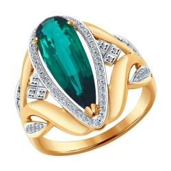Золотое кольцо (ГТ изумруд, Бриллиант) SOKOLOV