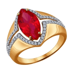 Золотое кольцо (ГТ рубин, Бриллиант) SOKOLOV