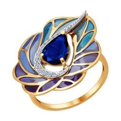 Кольцо из комбинированного золота эмалью с бриллиантами и сапфиром