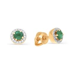 Золотые гвоздики с изумрудами и бриллиантами