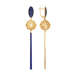Золотые серьги-висюльки (ГТ сапфир, Бриллиант) SOKOLOV
