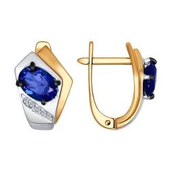 Золотые серьги Геометрия (Сапфир ГТ, Бриллиант)