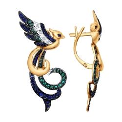 Золотые серьги Птицы с цветными камнями SOKOLOV