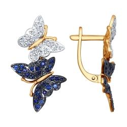 Золотые серьги Бабочка с сапфиром ГТ, бриллиантом SOKOLOV