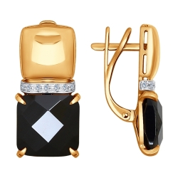 Золотые серьги Геометрия (Керамика, Бриллиант) SOKOLOV