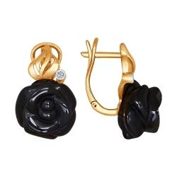 Золотые серьги Цветы (Керамика, Бриллиант) SOKOLOV