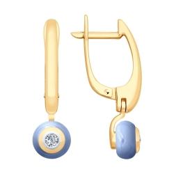 Серьги из золота с бриллиантами и голубыми керамическими вставками