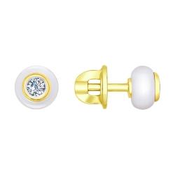 Серьги из желтого золота с бриллиантами и белыми керамическими вставками