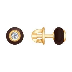 Серьги из золота с бриллиантами и коричневыми керамическими вставками