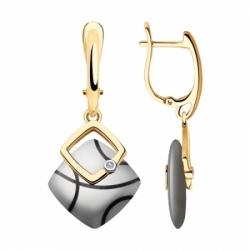 Серьги из золота с бриллиантами и керамическими вставками Sokolov