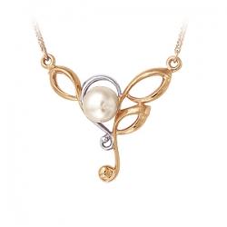 Золотое колье Флора с белым жемчугом