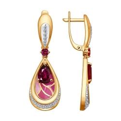 Серьги из золота эмалью с бриллиантами и рубинами