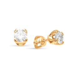 Золотые гвоздики с большими бриллиантами