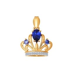 Золотая подвеска Корона с сапфировыми корундами SOKOLOV