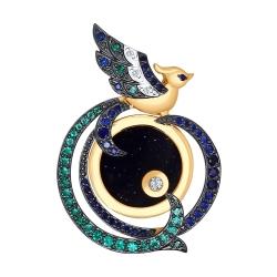 Золотая подвеска Птицы с цветными камнями SOKOLOV