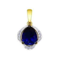 Подвеска из желтого золота с бриллиантами и синим корунд (синт.)