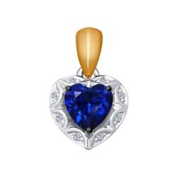 Подвеска из комбинированного золота с бриллиантами и синим корунд (синт.)