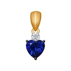 Подвеска из золота с бриллиантом и синим корунд (синт.)