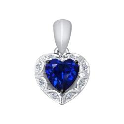 Подвеска из белого золота с бриллиантами и синим корунд (синт.)