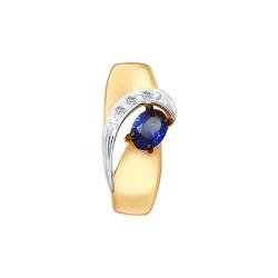 Подвеска из золота с бриллиантами и синим корунд (синт.)