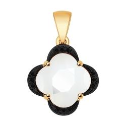 Золотая подвеска Четырехлистник (Бриллиант, Керамика) SOKOLOV