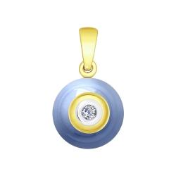 Подвеска из желтого золота с бриллиантом и голубым керамической вставкой