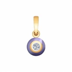 Подвеска из золота с бриллиантом и сиреневым керамической вставкой