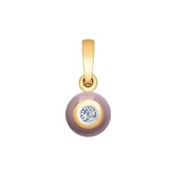 Подвеска из золота с бриллиантом и красным керамической вставкой