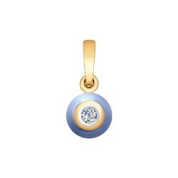 Подвеска из золота с бриллиантом и голубым керамической вставкой