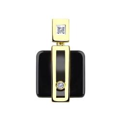 Подвеска из желтого золота с бриллиантами и керамической вставкой
