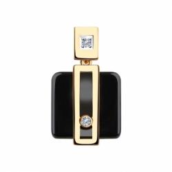Подвеска из золота с бриллиантами и чёрными керамическими вставками