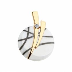 Подвеска из золота с бриллиантом и белым керамической вставкой
