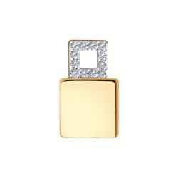 Подвеска из золота с родированием с бриллиантами и керамической вставкой