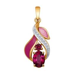 Подвеска из золота эмалью с бриллиантами и рубинами