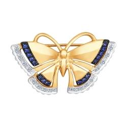 Золотая брошь Бабочка (Бриллиант, Корунд) SOKOLOV