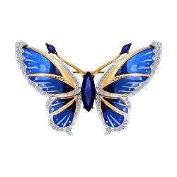 Брошка из комбинированного золота Бабочка с сапфиром ГТ, бриллиантом SOKOLOV
