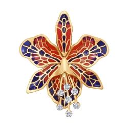 Золотая брошка Орхидея c бриллиантом SOKOLOV