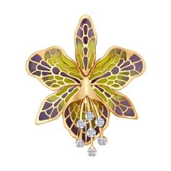 Золотая брошка Орхидея с бриллиантом SOKOLOV