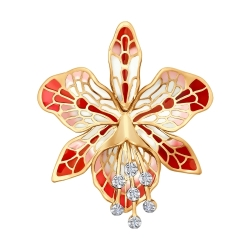 Золотая брошка Орхидея c бриллиантом