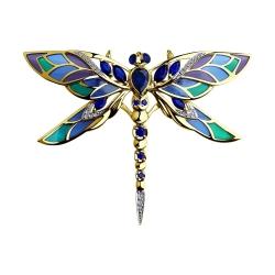 Брошь Стрекоза из желтого золота с эмалью бриллиантами и синими корунд (синт.)